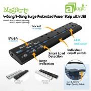 aMagic - MagStrip - 四 / 六位 13A 防雷拖板連四位USB充電 (APS-S1640-BS) ( 白色 )