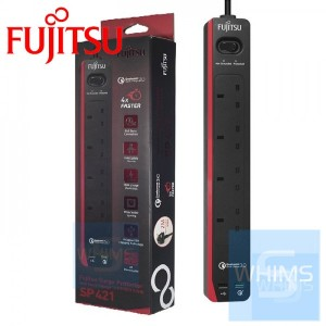 Fujitsu Surge Protector 13A 防雷拖板連四位USB 3.0 快速充電 SP421 (黑色)
