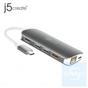 j5create - JCD383 - 9in1 USB-C 轉接器 – HDMI/Ethernet/USB Hub/SD & MicroSD/PD 3.0