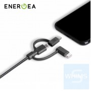 Energea - NyloTough 3 in 1 18CM 快速充電線 Micro-USB + Lightning + USB-C