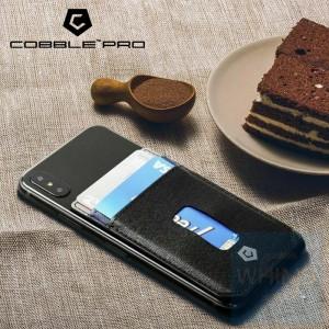 Cobble Pro - 粘貼卡片套 開孔2卡槽 (黑藍色)