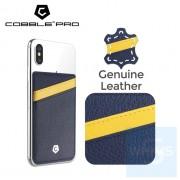 Cobble Pro - 真皮卡片套(海軍藍/黃色)