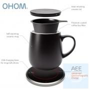 OHOM KOPI - 骨瓷自熱保溫杯連無線充電座套裝 黑色/白色/灰色 *送2合1鈦合金塗層咖啡/茶過濾器