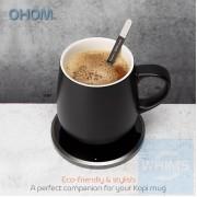 OHOM KOPI - 骨瓷自熱保溫杯連無線充電座套裝 黑色/白色