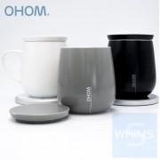 OHOM KOPI - 家庭套裝 黑+白色骨瓷自熱保溫杯連無線充電座 + 灰色智能自熱保溫杯