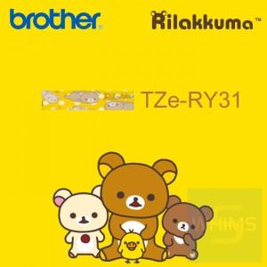 Brother - 12mm Rilakkuma 黃底黑字已過膠標籤帶 (覆膜/護貝)系列