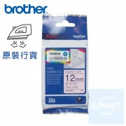 Brother - 12mm TZe-FAE3 粉紅布藍字燙印布質標籤帶