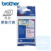 Brother - 12mm TZe-FAE3 粉紅布藍字燙印布質標籤帶