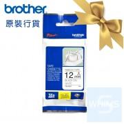 Brother - TZe-R231 (12mm) 白底黑字絲帶