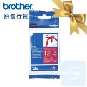 Brother - TZe-RW34 (12mm) 酒紅底金字絲帶