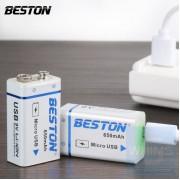 Beston - 鋰電大容量充電電池方塊電池 9V USB接口 650毫安