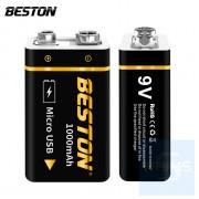 Beston - 鋰電大容量充電電池方塊電池 9V USB接口 1000毫安