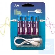Smartoools - 4 x AA Micro USB 插頭充電池 套裝 1.5V NiZn 1300mAh