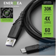 Energea - DuraGlitz 銀離子抗菌線 USB-A 轉 USB-C數據線 1.5米