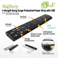 aMagic - MagStrip - 四 / 六位 13A 防雷拖板連四位USB充電 (APS-S1640-BS) ( 黑色 / 白色 )