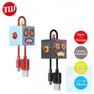 日本品牌 Tunewear CableArt Roboto Charging Cable of Lightning MFI 吊飾傳輸線 - 18cm ( 藍 / 黑色 )